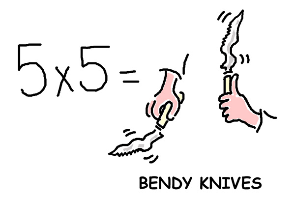 5x5BendyKnivesweb1 A shortcut to Times Tables