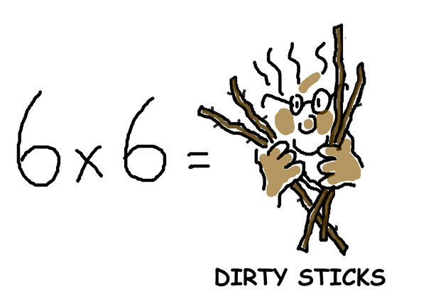 6x6DirtySticksweb A shortcut to Times Tables